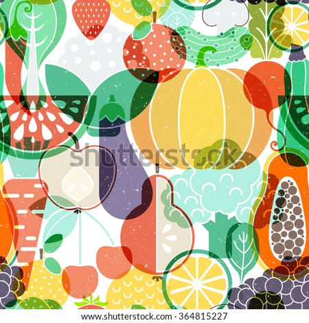 Seamless vector background with different fruits and vegetables. Great for restaurant menu backdrop, healthy food concept, juice bar illustration. Vegetarian colorful texture. Great summer tile. - stock vector