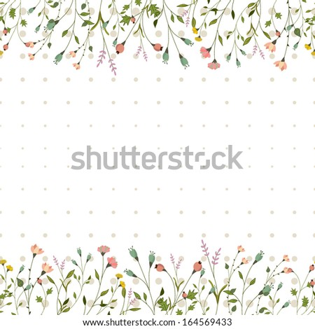 Seamless vector background with flowers - stock vector