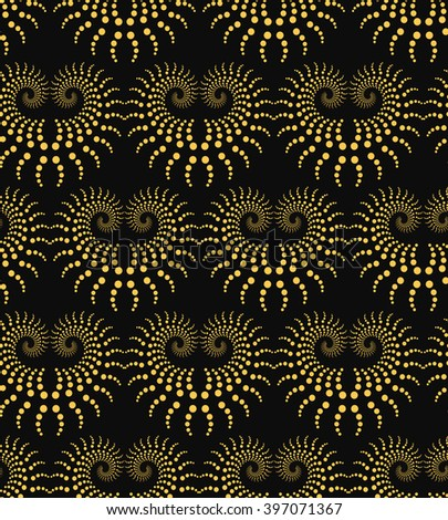 Seamless vector background with golden twirl circles. - stock vector