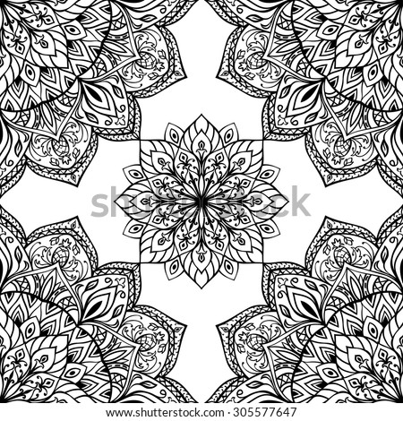 Seamless vector background with intricate ornaments. Oriental black and white  pattern of mandalas. Template for any surface. - stock vector