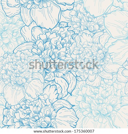 Seamless vector background with pattern of beautiful peonies. Delicate background with pastel colors. Seamless patterns are used in textile design, postcards, calendars, websites, wallpapers. - stock vector