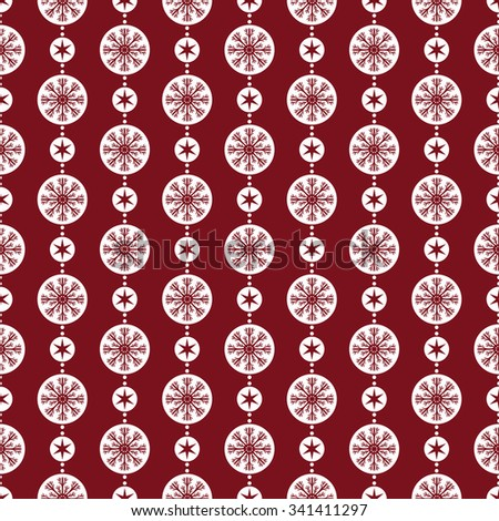 Seamless vector background with polka dot  and snowflakes inside Christmas ball - stock vector