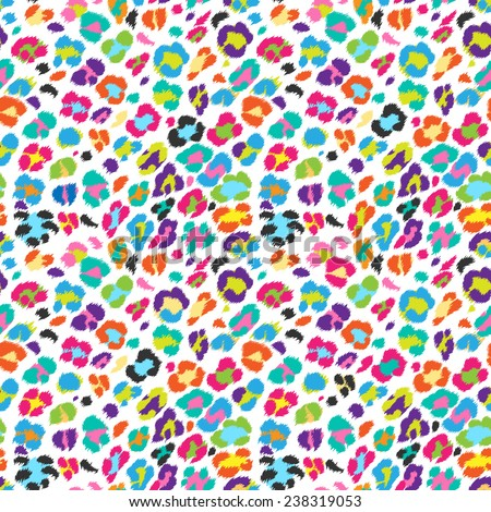 Seamless vector bright colors  leopard pattern. Can be used for fabrics, wallpapers, scrap-booking, ornamental template for design and decoration, etc - stock vector