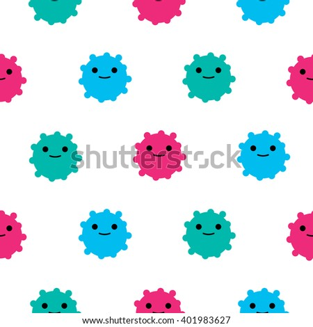 Seamless vector cartoon pattern with fantasy creatures. Simple template for textile designs. - stock vector