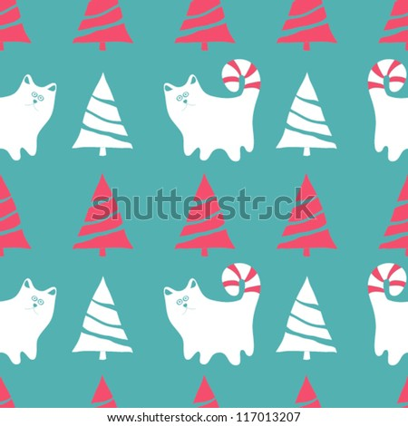 Seamless vector Christmas pattern with cats and Christmas trees, winter background - stock vector