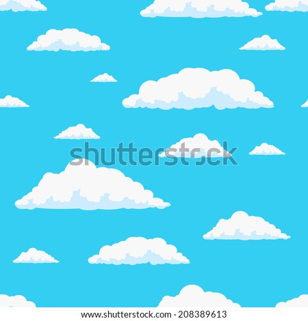 Seamless vector clouds pattern - stock vector