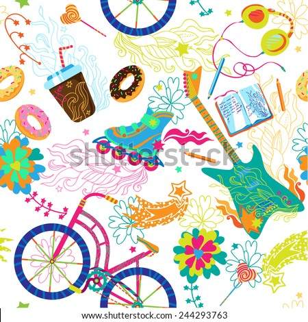 Seamless vector cute funny colorful teenage hipster lifestyle pattern . Can be used for fabrics, wallpapers,  design and decoration. - stock vector