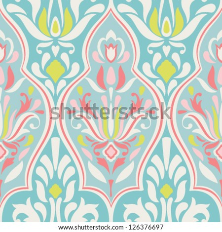 Seamless vector damask pattern. Classic background - stock vector