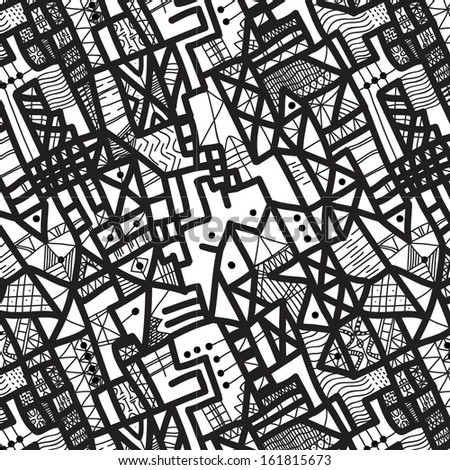 seamless vector doodle background pattern - stock vector