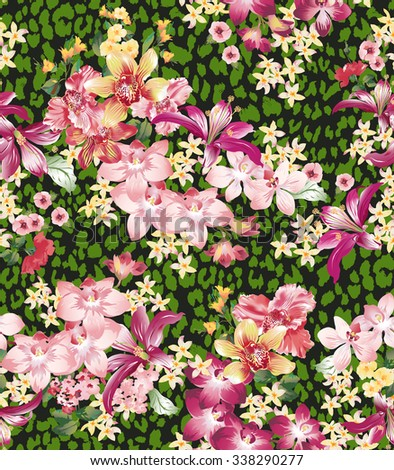 Seamless vector elegant floral pattern with orchids and lilies on a black background with leopard skin imitation. - stock vector