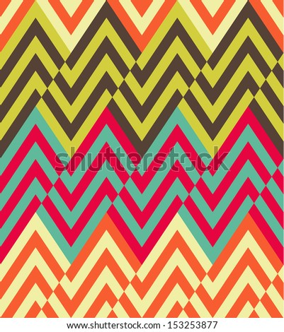 Seamless vector ethnic zigzag pattern - stock vector