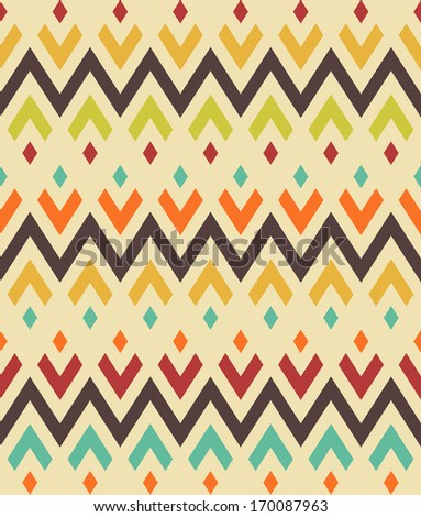 Seamless vector ethnic zigzag pattern - stock vector
