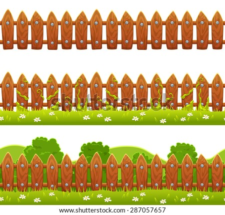 Seamless vector fence illustration, isolated on white background - stock vector
