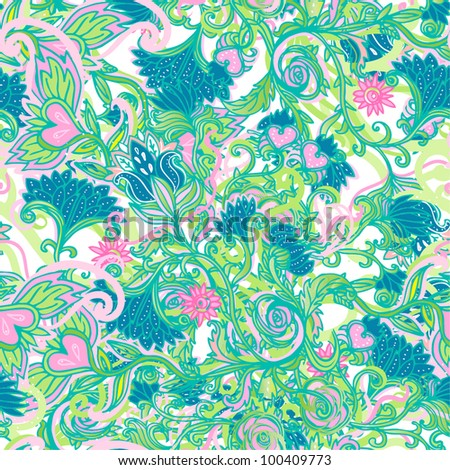 Seamless vector floral pattern - stock vector