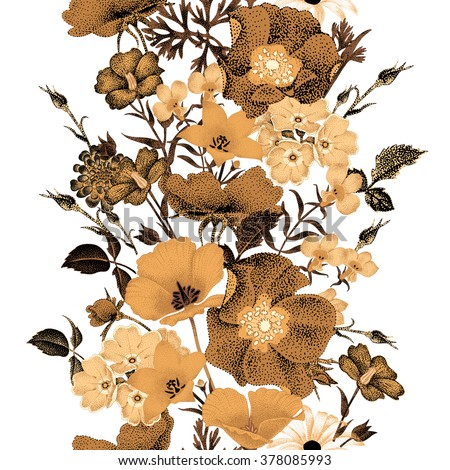 Seamless vector floral pattern golden flowers on a white background. Illustration of garden flowers roses, bluebells, daisies, primroses. Composition in the oriental style. Vintage. - stock vector