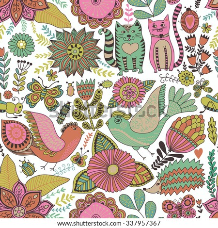 Seamless vector floral pattern, spring/summer backdrop. Bright colorful childish style animals and flowers. Romantic elements for wedding invitations, Valentine's day greetings - stock vector