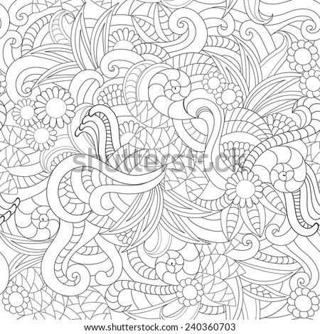 Seamless vector floral pattern with colorful fantasy plants and flowers, pattern can be used for wallpaper, pattern fills, web page background, surface textures  - stock vector