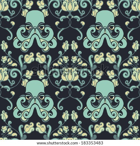 Seamless vector floral pattern with octopuses. - stock vector