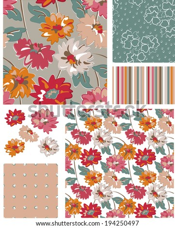 Seamless Vector Floral Patterns and Icons.  - stock vector
