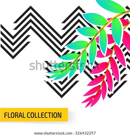 Seamless vector floral tropical pattern background with jungle leaves. Abstract stripped geometric texture - stock vector