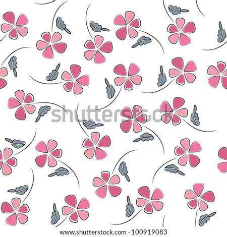 Seamless vector flower pattern - stock vector