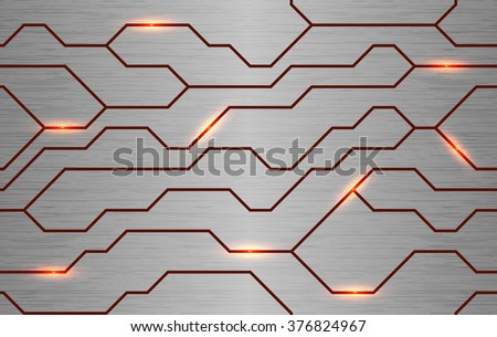 Seamless vector futuristic techno texture. Abstract energy line on brushed metal background. Power vein light tech pattern. - stock vector