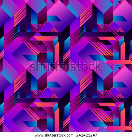 seamless vector geometric futuristic pattern with gradients.  - stock vector