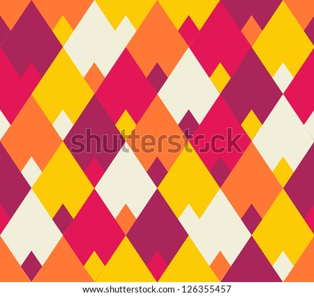 Seamless vector geometric rhombus color pattern background - stock vector