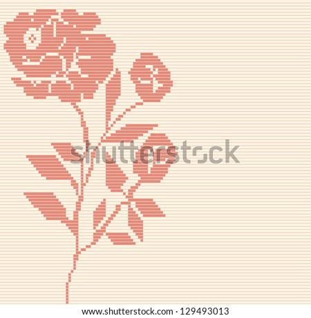Seamless  vector geometric rose flower pattern background - stock vector