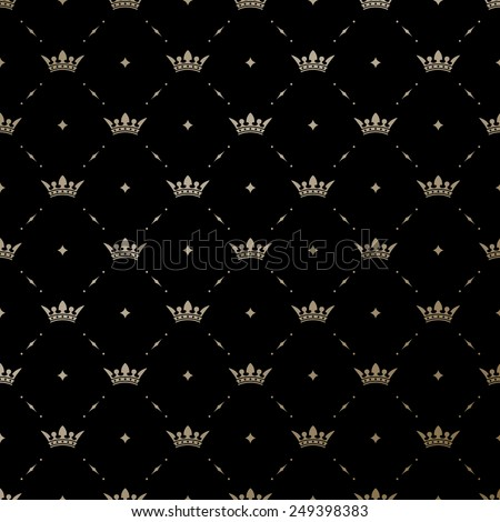 King Crown Wallpaper Seamless vector gold pattern with king crowns on a black background ...