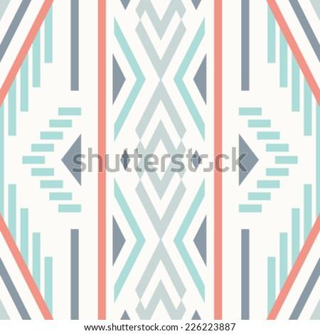 Seamless vector ikat pattern. Geometric background - stock vector