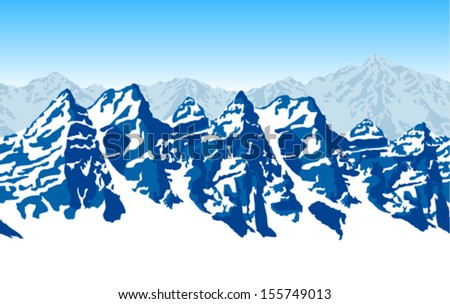 Seamless vector illustration mountains with snow - stock vector