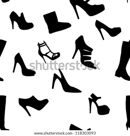 Seamless Vector Illustration of Womens Shoes - stock vector