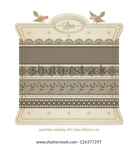 Seamless vector lace ribbons set. Shabby chic collection. - stock vector
