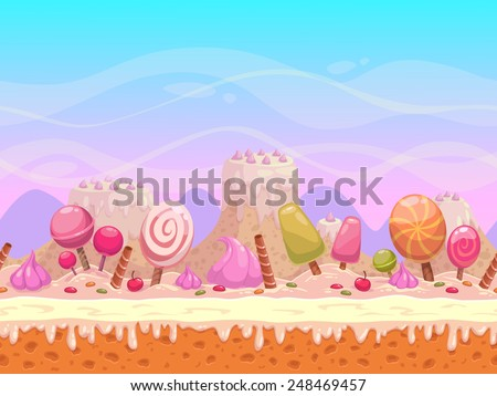 Seamless vector landscape with layers for parallax effect. Candyland illustration for game design - stock vector