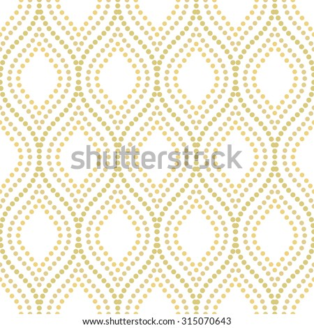 Seamless vector ornament. Modern stylish geometric pattern with repeating golden dotted waves - stock vector