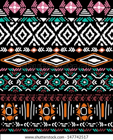 seamless vector ornament on black background, native-american style - stock vector