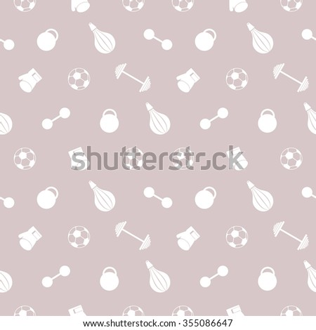 Seamless vector pattern.  Background with white sports equipment. Soccer ball, punching bag, gloves, barbells, dumbbells and weight on the beige backdrop - stock vector