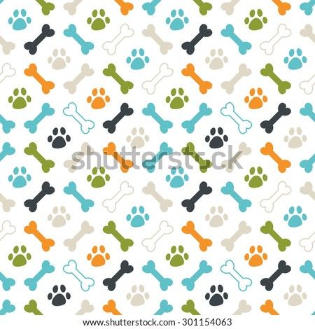 Seamless vector pattern. Colored dog footprint and bones texture: orange, blue, green and grey. - stock vector