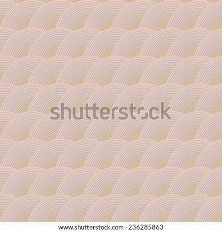 Seamless vector pattern. Concentric circles, beige background pattern in the form of waves. - stock vector