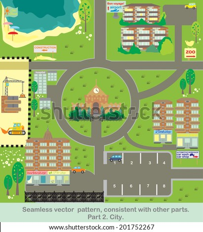 Seamless vector  pattern, consistent with other parts. Part 2. City.The portfolio has additional facilities. - stock vector