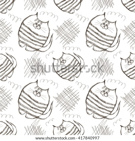 Seamless vector pattern. Cute black and white background with hand drawn cats and scribbles. Series of Cartoon, Doodle, Sketch and Scribble Seamless Vector Patterns. - stock vector