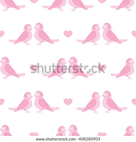 Seamless vector pattern. Festive childish design, illustration of couple cartoon love parrots, birds with hearts. Perfect for textile, backgrounds, texture, cotton, web. Love theme, Tender pink - stock vector