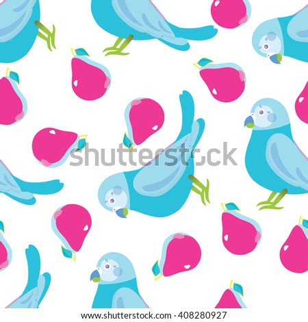 Seamless vector pattern. Festive childish design, illustration of magic cartoon parrots, birds with peak. Perfect for textile, backgrounds, texture, cotton, web. Blue, lilac, beige, pink - stock vector