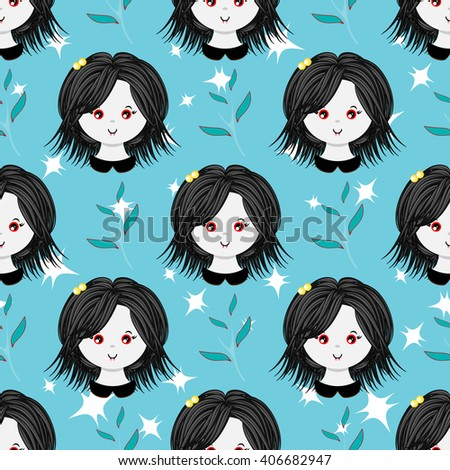 Seamless vector pattern. Flat cartoon vampire girl. Sweet, bright color. Kawaii smiling face expression. Perfect for textile, background, texture, fabric. Blue, green, violet, red  - stock vector