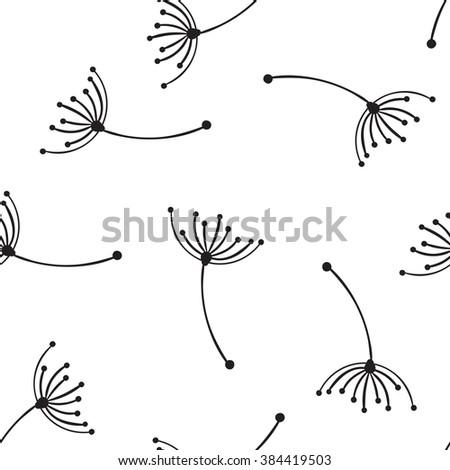 Seamless vector pattern. Flying of dandelion seeds - stock vector