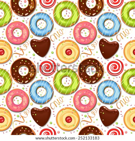 Seamless vector pattern. Food. Chocolate donuts. Colorful vector background. Sweets. Cupcakes. Holidays backdrop. - stock vector