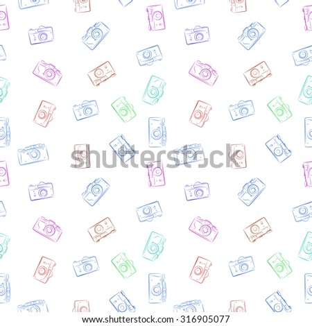 Seamless vector pattern from color film retro photocameras - stock vector