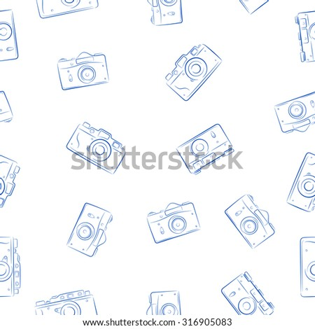 Seamless vector pattern from ink retro photocameras - stock vector