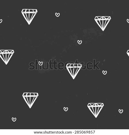 Seamless vector pattern, hand-drawn diamonds on chalkboard. - stock vector